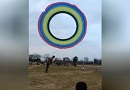 十多个人放巨型风筝